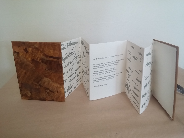 BIRCH, a book-work by Joan Backes with a birch-bark cover, drawings, and a poem by Sarah Brownsberger